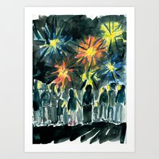 We held hands and watched the fireworks Art Print