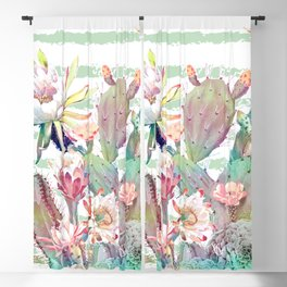 Watercolor cactus, floral and stripes design Blackout Curtain