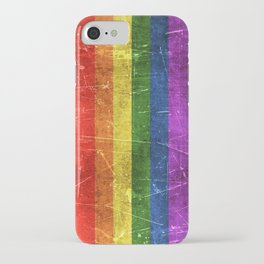 Vintage Aged and Scratched Rainbow Gay Pride Flag iPhone Case
