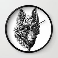 german shepherd Wall Clocks featuring German Shepherd by BIOWORKZ