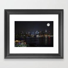 New York Supermoon Framed Art Print