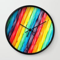 candy Wall Clocks featuring Rainbow Candy: Licorice by WhimsyRomance&Fun