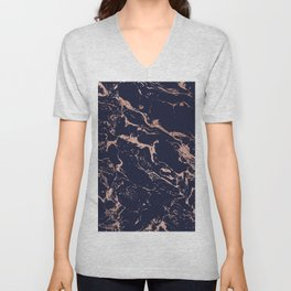 Modern chic navy blue rose gold marble pattern Unisex V-Neck
