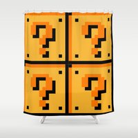mario bros Shower Curtains featuring Question mark Mario Bros. blocks  by Rebekhaart