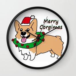 Merry Corgimas Wall Clock