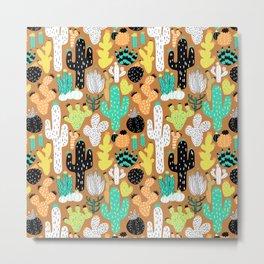 Cactus Crazy in Tumbleweed Tan - Small Scale Metal Print