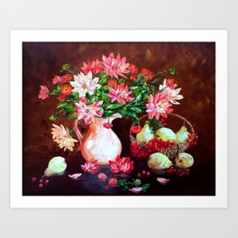 Still life of flowers and juicy pears Art Print
