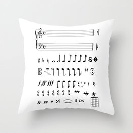 Musical Notation Throw Pillow