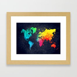 World map watercolor 6 Framed Art Print