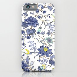 Oriental Flowers Birds Blue White Yellow iPhone Case