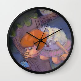 Two Little Girls and the Owl Playing Hide and Seek Wall Clock