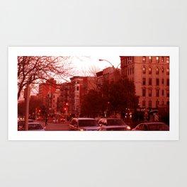 NYC Houston Street at Dusk - Red Haze Art Print