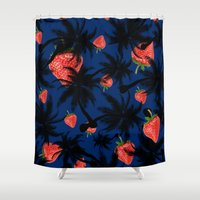 strawberry Shower Curtains featuring strawberry  by mark ashkenazi