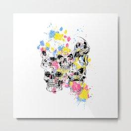 Skeleton Bone - Colored Vintage Skulls Metal Print