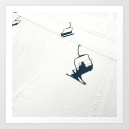 Chair lift shadow Art Print