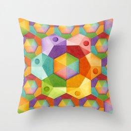 Rainbow Hexagons Throw Pillow