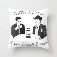 dale cooper Throw Pillows featuring TWIN PEAKS - Dale Cooper and Harry Truman by Guiltycubicle