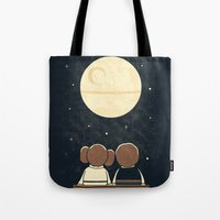 yetiland Tote Bags featuring Moon Gazing by Teo Zirinis