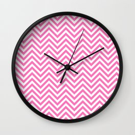 Chevron White And Pink Wall Clock