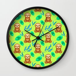 Funny cute happy cross-legged meditating relaxed chilling sloths and tropical rainforest exotic gree Wall Clock