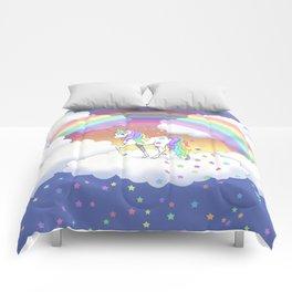 Pretty Rainbow Unicorn and Stars Comforters