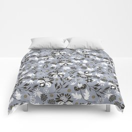 Victorian floral | slate gray Comforters