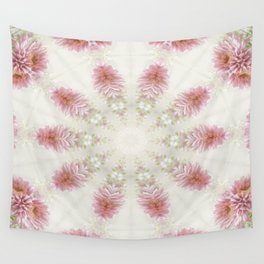 Pink Chrysanthemums Kaleidoscope Art 2 Wall Tapestry