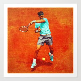 Rafael Nadal Tennis On Clay Art Print