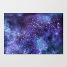 Stardust blue purple watercolor space Canvas Print