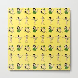 BROAD CITY ART MODEL WEED Censorship (yellow pattern) Metal Print