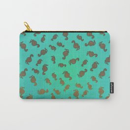 Copper Seahorses in an Aqua Sea Carry-All Pouch