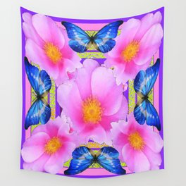 Blue Silken Butterflies Pink Camellias Patterned Abstract Wall Tapestry