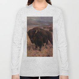 Vintage American Buffalo Painting (1909) Long Sleeve T-shirt