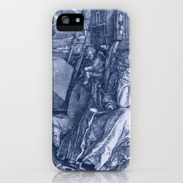 "Albrecht Dürer ""Melancholia I"" edited blue iPhone Case"
