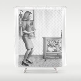 Girl with TV Shower Curtain