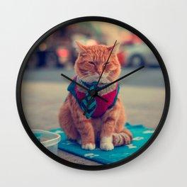 Tie Beige Cat Sitting Begging Wall Clock