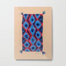 Fire and Cobalt Aztec Rug Metal Print