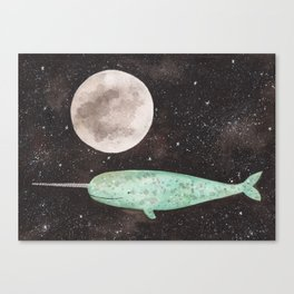 Narwhal in the sky Canvas Print