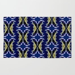 Yellow Darkblue Ornament  Baroque Damask Pattern Rug