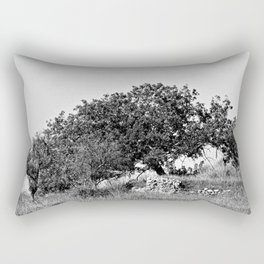 Olive Tree Stone Wall Mediterranean Landscape Rectangular Pillow