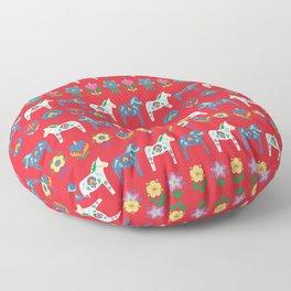 Dala Folk Red Floor Pillow