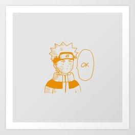 Naruto - OK Art Print