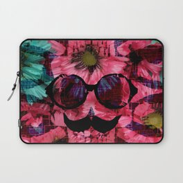 vintage old skull portrait with red and blue flower pattern abstract background Laptop Sleeve