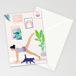 Girl Power Yoga pose Stationery Cards