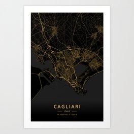 Cagliari, Italy - Gold Art Print