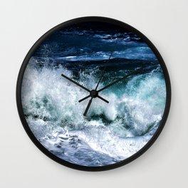 Dark Blue Waves Wall Clock