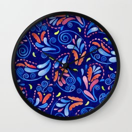 Multicolored Watercolor Paisley Florals Wall Clock