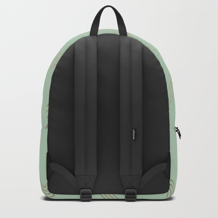 Simply Deconstructed Chevron in White Gold Sands and Pastel Cactus Green Backpack