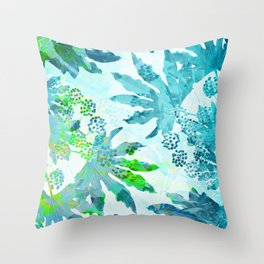 Tropical adventure - Blue Throw Pillow