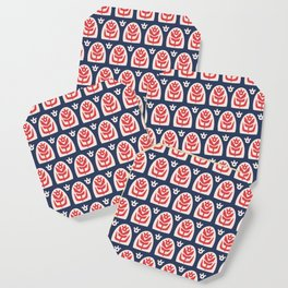 Mid Century Modern Sunflower Blue and Red Coaster